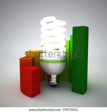 Energy saving concept. Energy performance scale applied to building assessment. 3d render. - stock photo