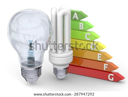 Energy Saving Concept on white background - stock photo