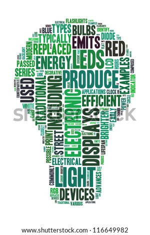 Energy saving definitions on word collage - stock photo
