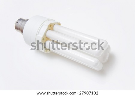 Energy saving florescent light bulb isolated on a white studio background
