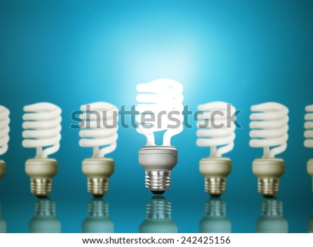 Energy saving fluorescent light bulb - stock photo