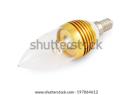 Energy saving High power LED light bulb (E14). Isolated on white background with clipping path.  - stock photo