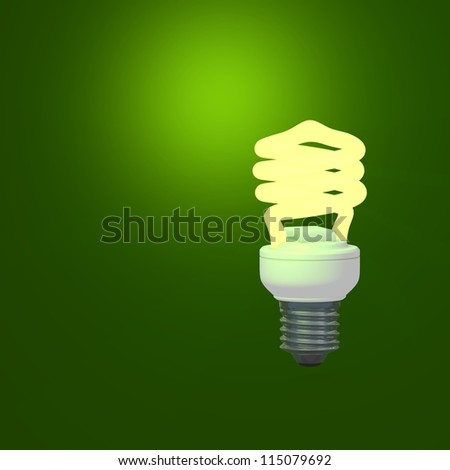 Energy Saving Lamp and green background - stock photo