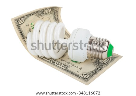 Energy saving lamp and money - stock photo