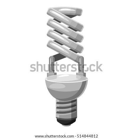 Energy saving lamp icon. Gray monochrome illustration of energy saving lamp  icon for web