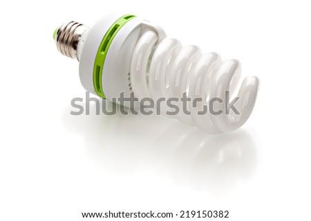 Energy saving lamp isolated on white background - stock photo