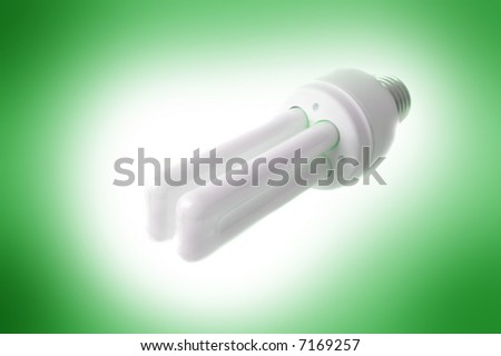 Energy saving lamp on green background