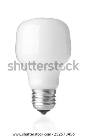 Energy saving lamp on white background - stock photo