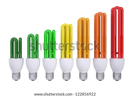 Energy saving lamps are painted in the colors of the table of energy efficiency. Isolated render on a white background - stock photo