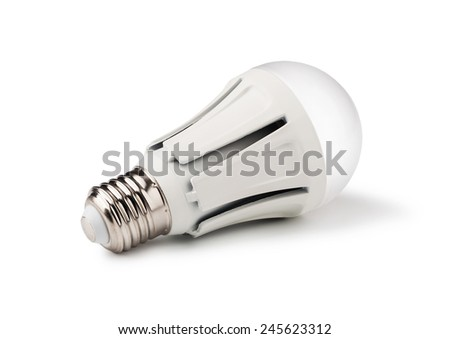 Energy saving LED light bulb isolated on a white bakground - stock photo
