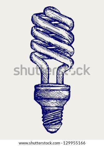Energy saving light bulb. Doodle style. Raster version - stock photo