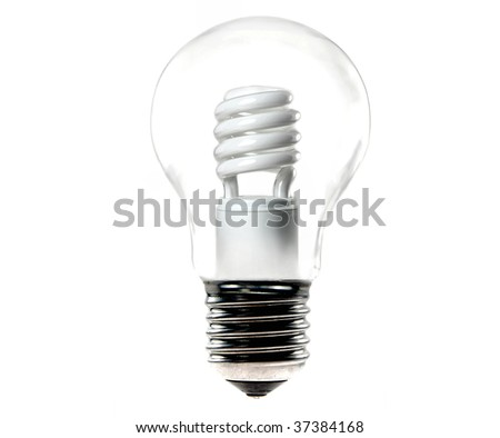 energy saving light bulb in an old tungsten bulb - stock photo