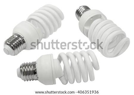 Energy saving light bulb isolated on white background - stock photo