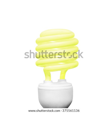 Energy saving light bulb on white background square composition yellow - stock photo
