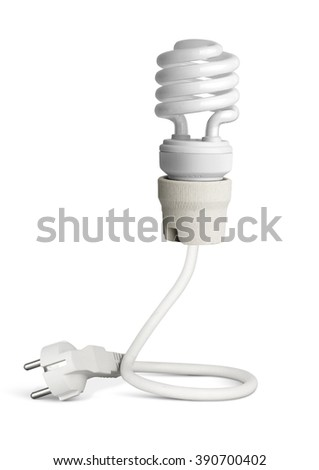 Energy saving light bulb with plug isolated on white