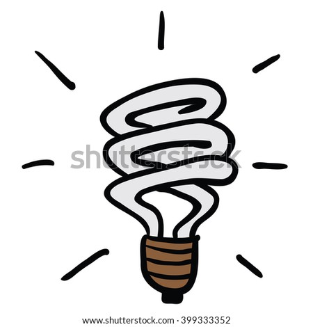 energy saving light cartoon - stock photo