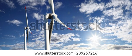 energy wind turbines and sky with clouds - stock photo