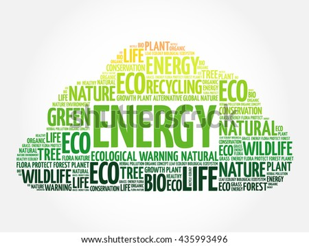 Energy word cloud, conceptual green ecology background - stock photo
