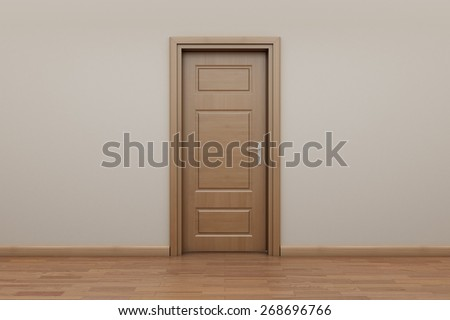 Enfilade, open door to outside. Stop motion animation. Frame zero. Closed door  - stock photo