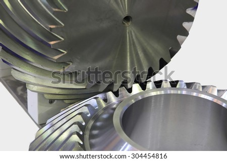 Engage and transfer torque helical bevel gears - stock photo