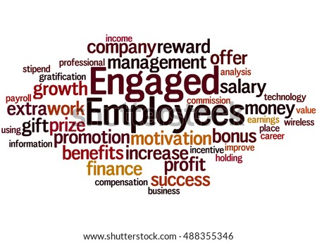 Engaged employees, word cloud concept on white background.