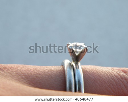Engagement and wedding ring - stock photo