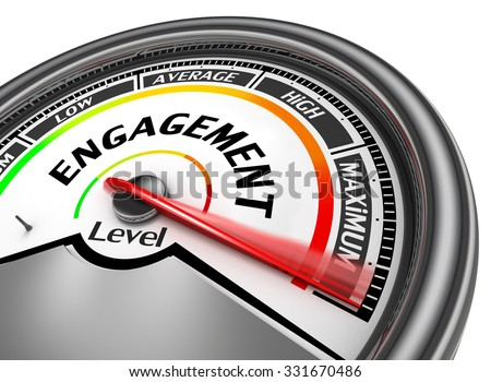 Engagement level to maximum conceptual meter, isolated on white background - stock photo