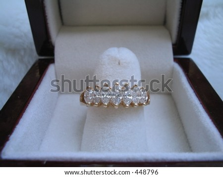 Engagement ring in box. - stock photo
