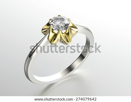 Engagement Ring with Diamond. Jewelry background - stock photo
