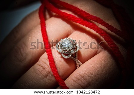 Engagement Ring Red String Fate Stock Photo 1042128472 Shutterstock
