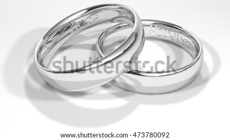 Engagement rings with a recorded message, 3D rendering