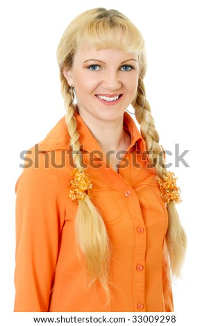 engaging girl in orange clothes on white background
