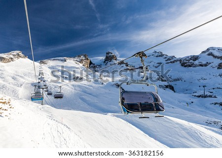 ENGELBERG, SWITZERLAND - DECEMBER 11: Outside views of the infrastructure  of the ski resort Engelberg on December 11, 2015. Engelberg is a popular Ski resort in the central Swiss alps.