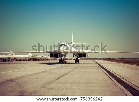 ENGELS, RUSSIA - AUGUST 19, 2017: Air Fleet Day. Military aircraft at a military airfield on the runway