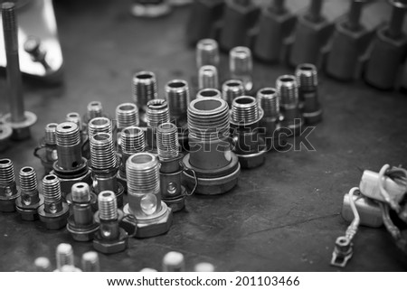 Engine bolts - stock photo