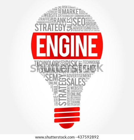 ENGINE bulb word cloud, business concept - stock photo