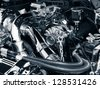 Engine compartment - stock photo