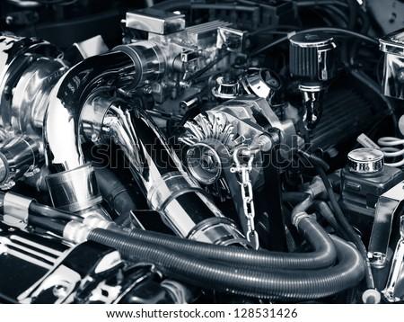 Engine compartment - stock photo