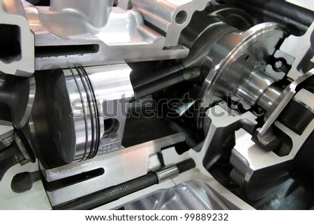 Engine Cutout showing piston and valve - stock photo