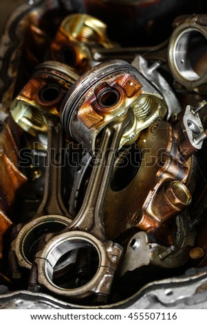 Engine cylinder bore and remove the cylinder head and piston for repair, Machine equipment of vehicles, Maintenance routine job in garage and repair the engine, Inspect the machine and replace parts. - stock photo