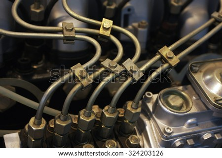 engine detail with cooling pipes