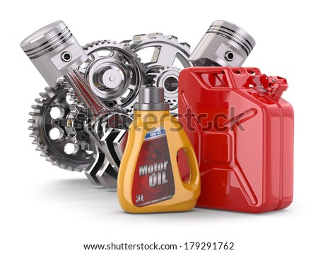Engine, motor oil canister and jerrycan. 3d - stock photo