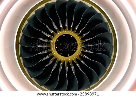 Engine of airbus show on an exhibition - stock photo