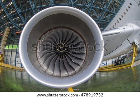 Engine of the airplane. (lens effect)