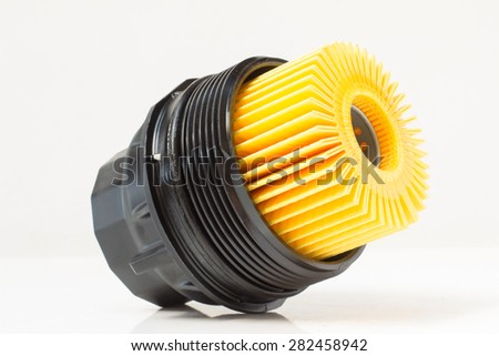 engine oil filter with plastic housing - stock photo