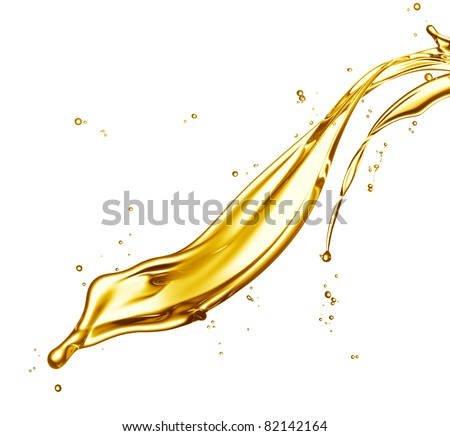 engine oil splashing isolated on white background - stock photo