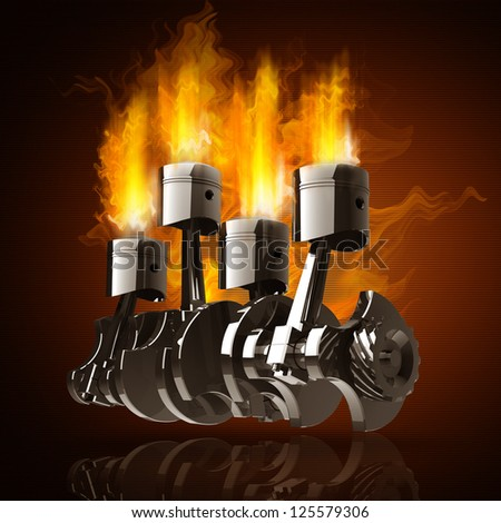 Engine pistons and cog in Fire high resolution 3d illustration - stock photo