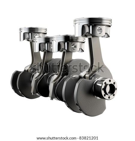 Engine pistons connecting rod crankshaft flywheel - stock photo