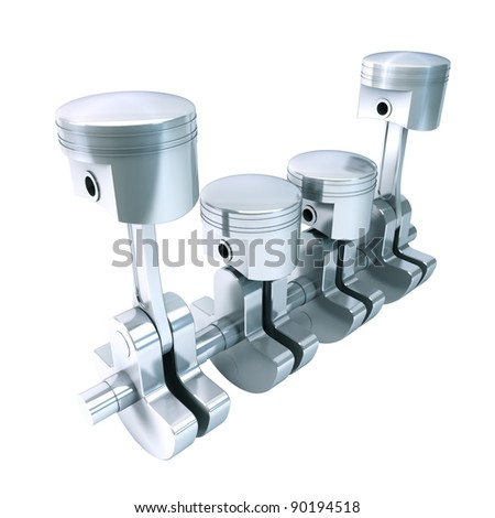 Engine Pistons & Crankshaft isolated on white - stock photo
