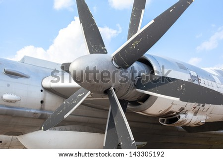 Engine propeller aircraft - stock photo